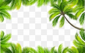 Vector Painted Green Leaves Border - Euclidean Vector Color PNG