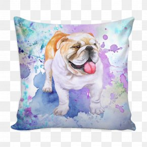 Throw Pillows - Toy Bulldog Puppy Dog Breed Throw Pillows PNG