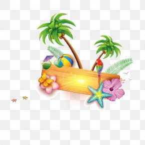 Cartoon Summer Beach Elements - Beach Clip Art PNG