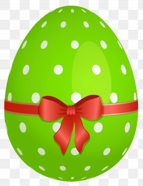 Green Dotted Easter Egg With Red Bow Clipart - Easter Bunny Easter Egg Clip Art PNG