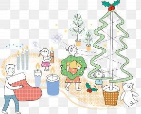 Vector Holiday Tree Dress Up - Christmas Cartoon Illustration PNG