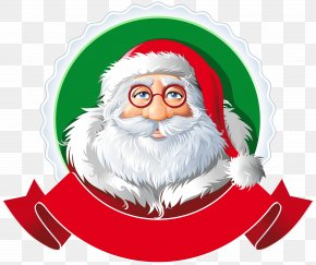 Santa With Red Banner Clipart Image - Santa Claus Rudolph Christmas Clip Art PNG