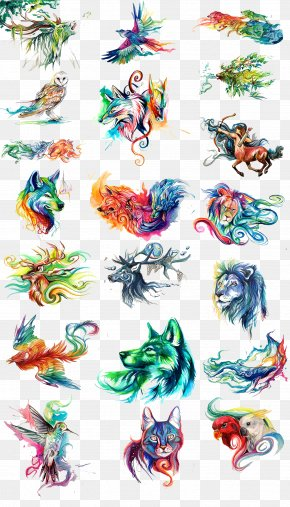 Watercolor Painted Animals - Watercolor Painting Download PNG