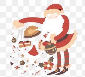 Santa Claus Throwing Gifts - Santa Claus Christmas Ornament Greeting Card Clip Art PNG