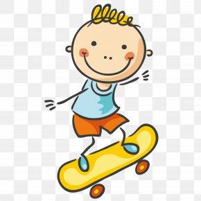 Skateboard Boy - Boy Cartoon Clip Art PNG