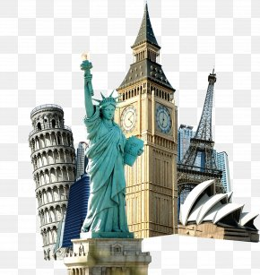 World Landmarks Buckle Creative HD Free - Statue Of Liberty Eiffel Tower Travel Tourism PNG
