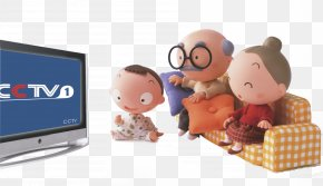 Family Watching TV - Television Cartoon PNG
