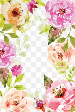Watercolor Flowers Border Vector - Watercolor Painting Book Poster PNG