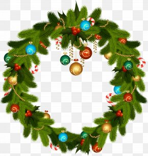 Christmas Wreath And Ornaments Clip Art - Christmas Ornament Wreath Stock Photography Clip Art PNG