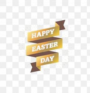 Golden Ribbon - Easter Bunny Euclidean Vector PNG