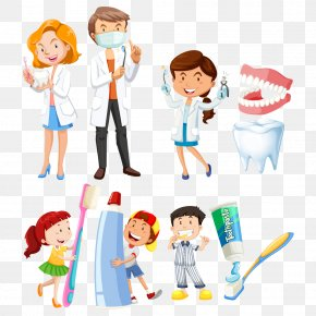 Vector Dentist And Child - Dentistry Toothbrush Illustration PNG