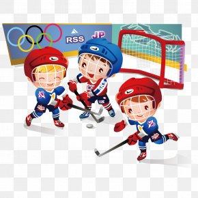 Children's Hockey Vector Material Cartoon - Ice Hockey At The Olympic Games Cartoon Clip Art PNG