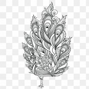 Peacock Feather - Adult Coloring Book: Stress Relieving Patterns Colouring Pages Peafowl PNG