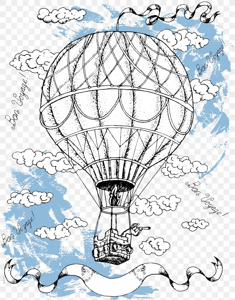 Hot Air Balloon Drawing Illustration, PNG, 3440x4396px, Line Art, Area, Artwork, Balloon, Birthday Download Free