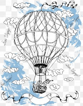 Blue Sky Hot Air Balloon - Hot Air Balloon Drawing Illustration PNG