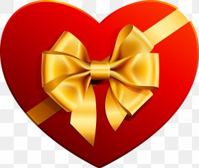 Transparent Heart With Gold Ribbon Clipart - Heart Chocolate Box Art Clip Art PNG