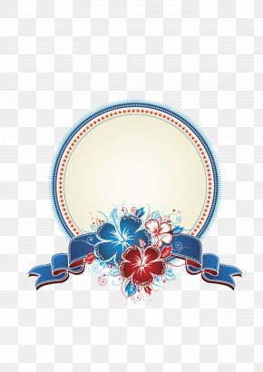 Blue Flowers Text Frame - Picture Frame Flower Clip Art PNG