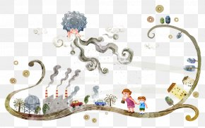 Hand-painted Stormy Weather - Smog Fog Cartoon Illustration PNG