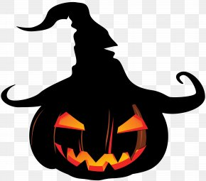 Scary Pumpkin With Witch Hat - Pumpkin Jack-o'-lantern Witch Hat Clip Art PNG