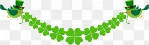 Spring Clover Banner - Saint Patricks Day Luck Clover Clip Art PNG