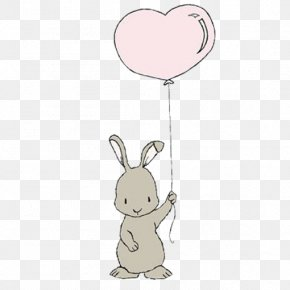 Holding Balloons Bunny - Rabbit Easter Bunny Leporids Balloon PNG