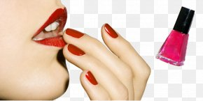 Beautiful Models And Nail Polish - Lipstick Red Lip Gloss Henna PNG