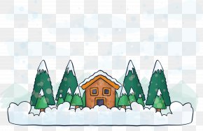 Vector Winter Forest Hut - Winter Drawing Illustration PNG