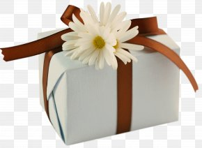 White Present With Brown Bow And Daisies Clipart - Birthday Wish Friendship Greeting Card Happiness PNG