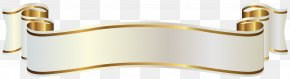 White And Gold Banner Clipart Image - Gold Banner Clip Art PNG