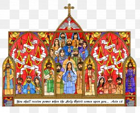 Catholic - Stained Glass Window Pentecost Bulletin Board PNG