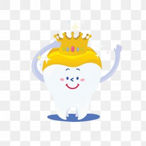 Hand Painted Teeth Yellow Crown - Tooth Crown Molar PNG