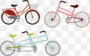 Three Flat Bicycle Vector - Bicycle Pedal Road Bicycle Bicycle Wheel PNG