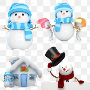 Cartoon Snowman Wearing Hat And Scarf - Cartoon Stock Illustration Clip Art PNG