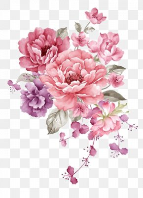 Pink Ink Flowers - Flower Paper Watercolor Painting Stock Illustration PNG
