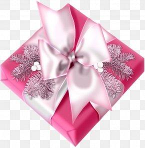 Gift Banner Pink Bow - Christmas Gift Christmas Gift Clip Art PNG