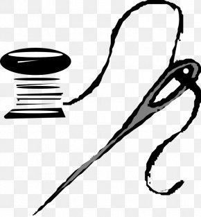 Painted Black Needle And Thread - Sewing Needle Thread Yarn Clip Art PNG
