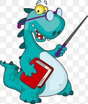 Vector Cartoon Dinosaur Teacher - Dinosaur Teacher Clip Art PNG