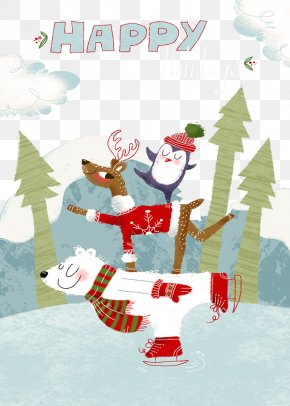 Hand-painted Christmas Reindeer Polar Bears - Wedding Invitation Reindeer Christmas Ornament Illustration PNG