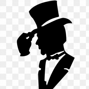 A Silhouette Of A Man With A Hat - T-shirt Hat Suit Clothing PNG