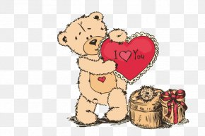 Bear Gift,Love Gift - Paper Sticker Valentines Day Love Wallpaper PNG