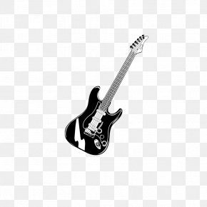 Black And White Guitar - Bass Guitar Musical Instrument Black And White Electric Guitar String Instrument PNG