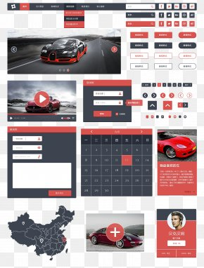 UI Interface Design Elements Red - Website Web Template Graphic Design World Wide Web PNG