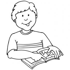 Boy Reading Clipart - Student Reading Black And White Clip Art PNG