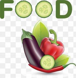 Cartoon Eggplant Chili - Organic Food Health Food PNG