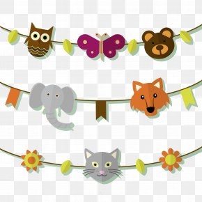 3 Creative Animal Heads Pull Flag Vector Material - Animal Download Garland PNG