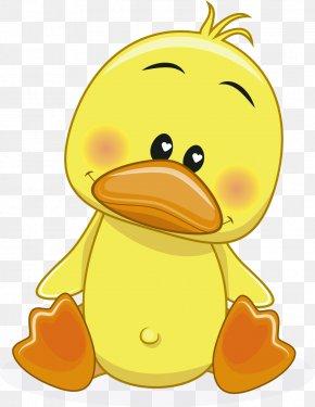Vector Cartoon Little Yellow Duck - Donald Duck Cartoon Drawing PNG