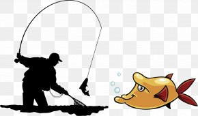 Fishing Man Silhouette - Fly Fishing Angling Illustration PNG