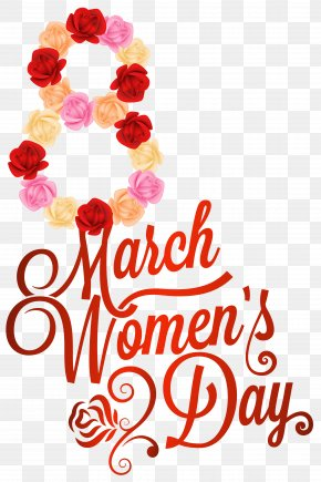 Red 8 March Womens Day PNG Clipart Image - International Women's Day Valentine's Day Clip Art PNG