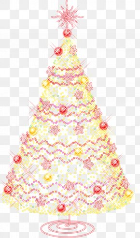 Large Gold Transparent Christmas Tree With Ornaments Clipart - California Artificial Christmas Tree Christmas Day PNG