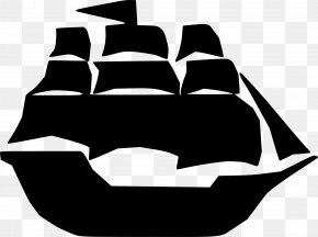 Ship - Black And White Piracy Clip Art PNG